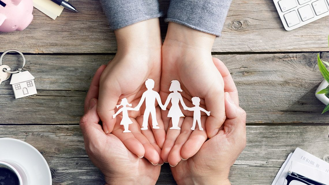 Family Care And Love – Hands With Family Symbol Silhouette